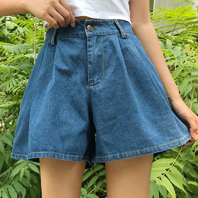 Plus Size Fashion   Short   Jeans Summer Women High Waist Denim   Shorts   Mujer Wide Leg   Short   Jeans Feminino Flare   Short   Pants Women