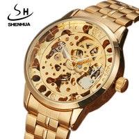 SHENHUA 2017 Luxury Full Steel Golden Automatic Mechanical Watch Men Brand Silver Skeleton Analog Watch Male