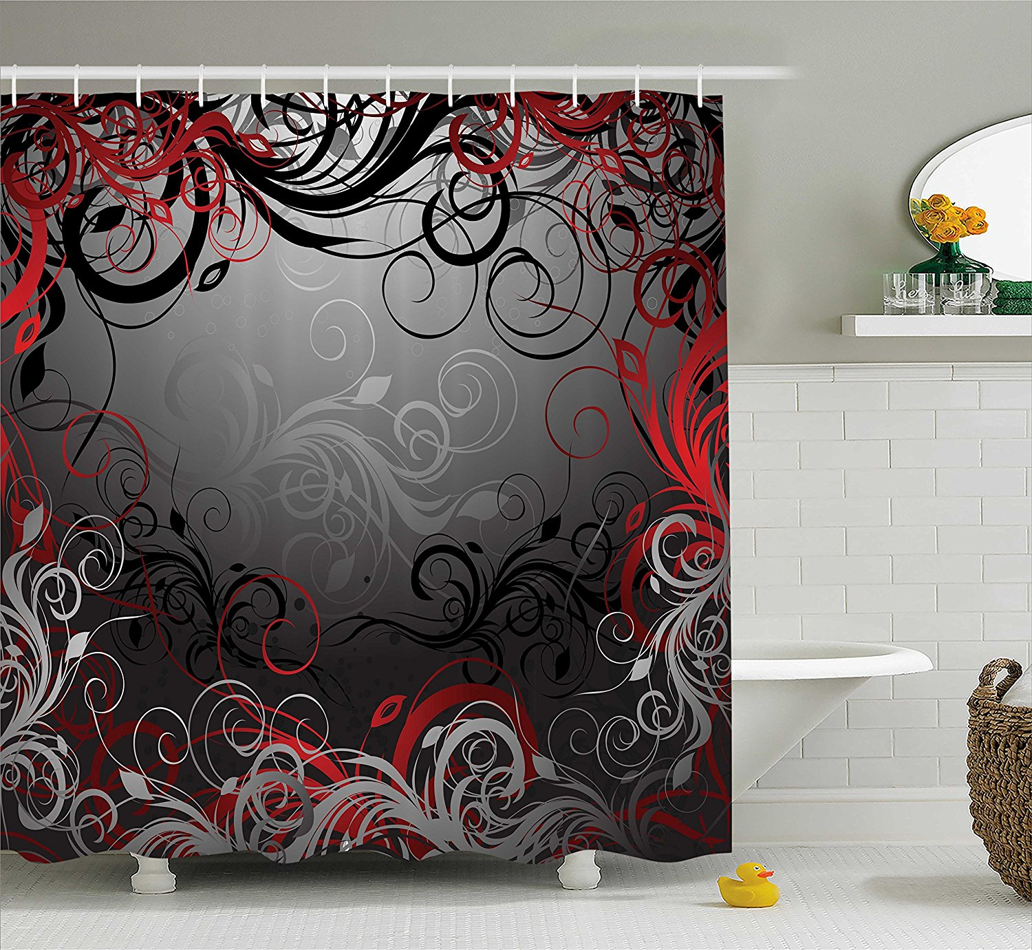 Red And Black Shower Curtain Set Us 12 8 30 Off Red And Black Shower Curtain Mystic Magical Forest Inspired Floral Swirls Leaves Bathroom Decor Set In Shower Curtains From Home