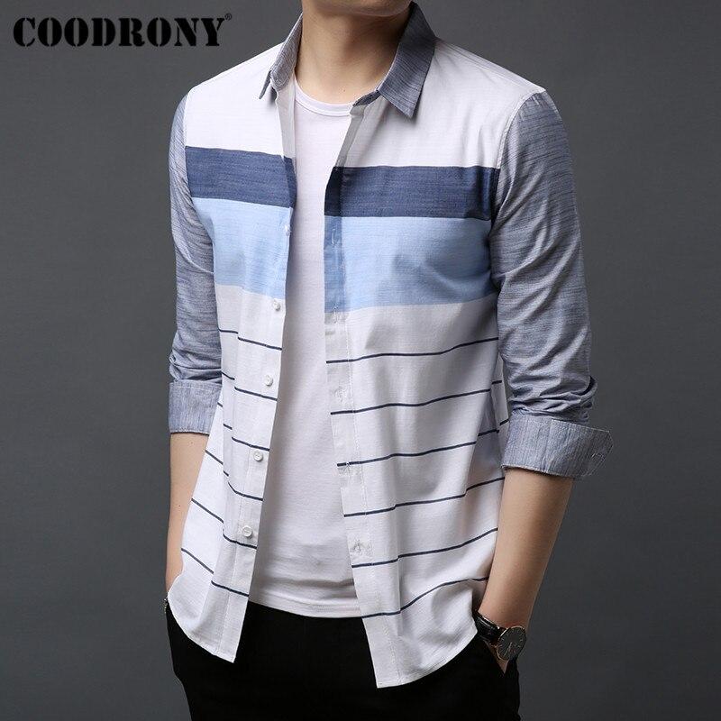 COODRONY ผู้ชายเสื้อ Streetwear เสื้อแฟชั่นลายสบายๆเสื้อ 100% เสื้อผู้ชาย 2019 ฤดูใบไม้ร่วงแขนยาว Camisa Masculina 96039-ใน เสื้อเชิ้ตลำลอง จาก เสื้อผ้าผู้ชาย บน AliExpress - 11.11_สิบเอ็ด สิบเอ็ดวันคนโสด 1