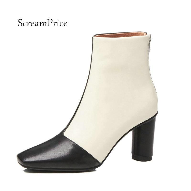 купить Women Genuine Leather High Heel Ankle Boots Fashion Zipper Boots Ladies Mixed Colors Square Toe Fall Winter Shoes Apricot по цене 4289.96 рублей
