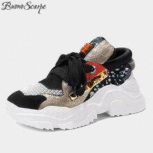 3a1380a2 2019 Hot platformy jazda włosów trampki Patchwork Mesh nity stadniny buty w  stylu casual prawdziwej skóry kobiet Sneakers buty d.