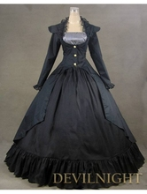 Black Vintage Long Sleeves Gothic Victorian Dress Antique Victorian Dressing Chest