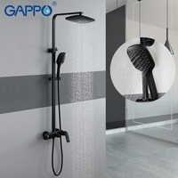 GAPPO prysznic kran czarny farba 3 funkcja chrom prysznic zestaw łazienka mosiądz prysznic mixer prysznic z hydromasażem głowice prysznicowe wodospad głowy