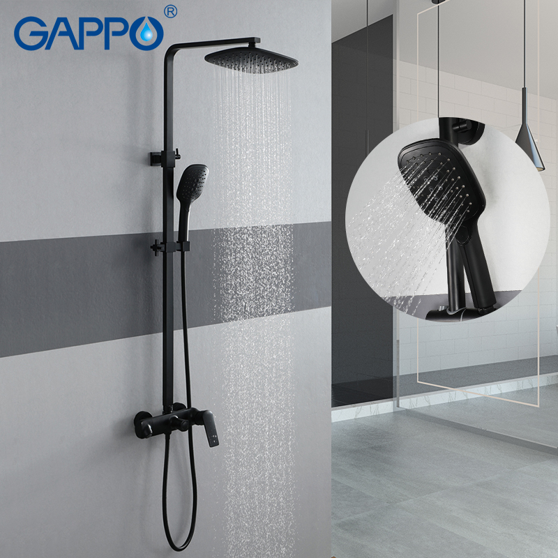 GAPPO robinet de douche noir-peinture 3 fonction chrome ensemble de douche salle de bain laiton mitigeur de douche massage pomme de douche cascade