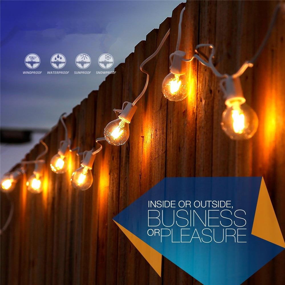 G40 12 LED Light Bulbs String Light 26ft Warm White LED Cafe Style Lighs Garden String