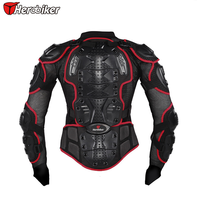 HEROBIKER Men's Motocross Off-Road Dirt Bike Motorcycle Full Body Armor Motorbike Street Motor Racing Jacket Back Support herobiker back support armor removable