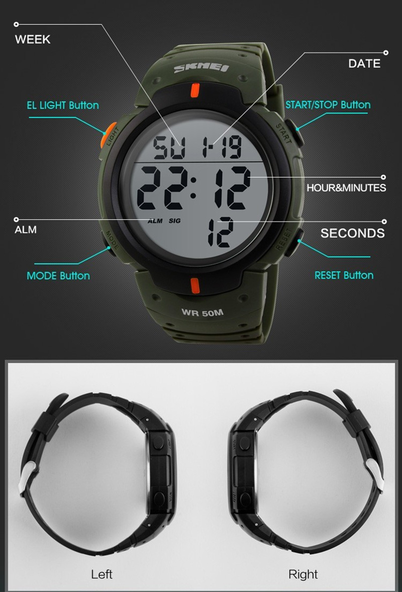 grande dial relógios militares alarme resistente a