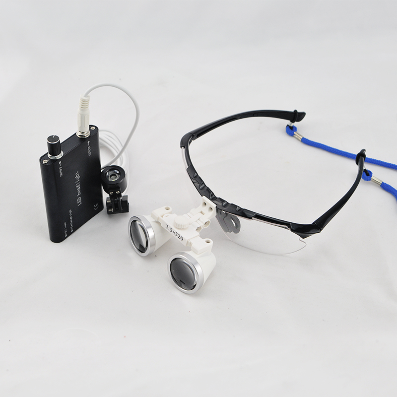 2018 New Black Dentist Dental Surgical Medical Binocular Loupes 2.5X 320mm Optical Glass Loupe+LED Head Light Lamp red free shipping new 2 5x420 magnifier dentist dental surgical binocular loupes optical and portable led head light lamp 2015 a