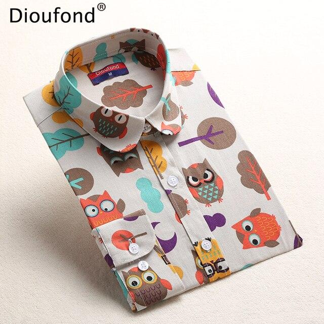Dioufond летние полосатые Блузки для малышек животных печати блузка рубашка 2017 с длинным рукавом Для женщин Рубашки для мальчиков КИТ Повседневное Blusas Плюс Размеры 5xl