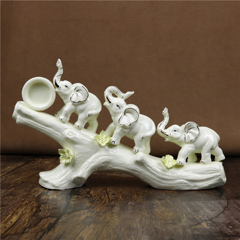 Porcelain Family Elephant Sculpture Handmade Ceramics Wild Animal Statue Craft Ornament for Room Decoration and Art Collection