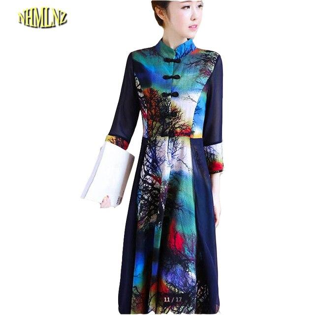 Robe Dernière Mode d été Femmes Doux Robe Coton soie Impression Moyen  longue Robe Mince c6d9c27ea39a