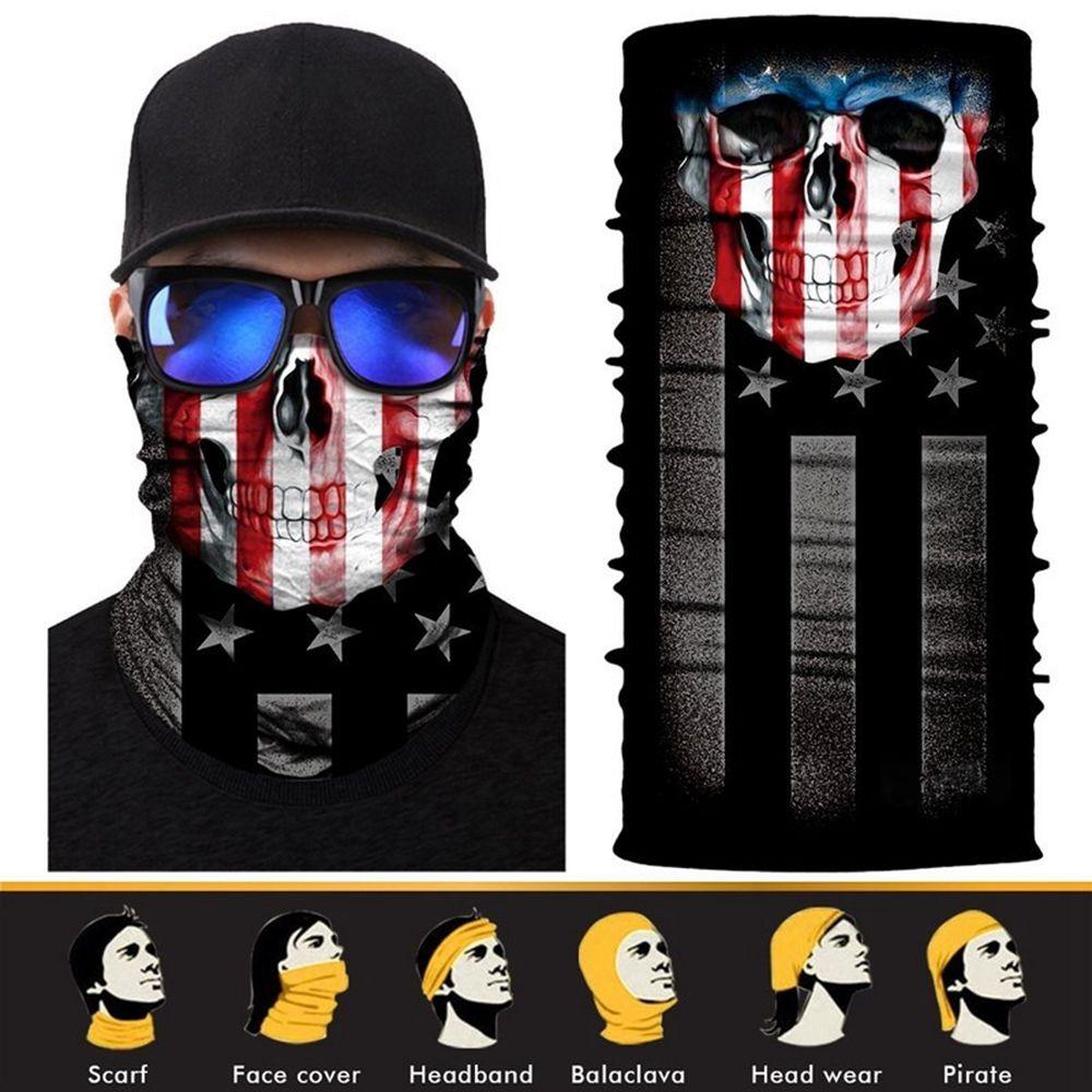 2017 New 3D Design Human Face Skull Bandana High Elastic Seamless Scarves Riding Mask Bicycle Magic Sport Hat Bandanas protective outdoor war game military skull half face shield mask black