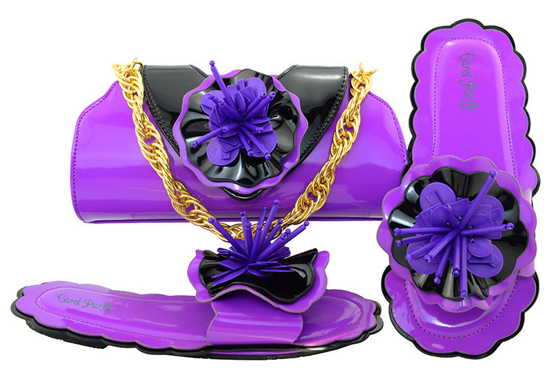Italian Design  Flat Shoes With Matching Bag,The High Quality African Fashion Purple Shoes And Evening Bag For Party MM1053 italian visual phrase book