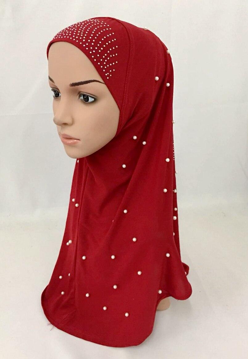 NEW 2018 Elastic Intermingle Yarn instant HIJAB pearl hot fix rhinestone Long One piece muslim HIJAB
