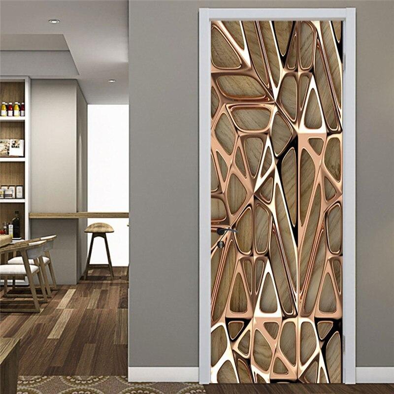 Modern Abstract Wallpaper 3D Art Geometry Decoration Door Sticker Living Room Study Room Creative DIY Wall Sticker PVC Wallpaper