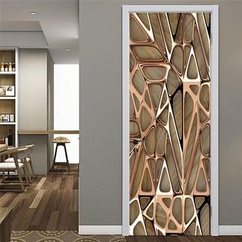 Modern Abstract Wallpaper 3D Art Geometry Decoration Door Sticker Living Room Study Creative DIY Wall PVC