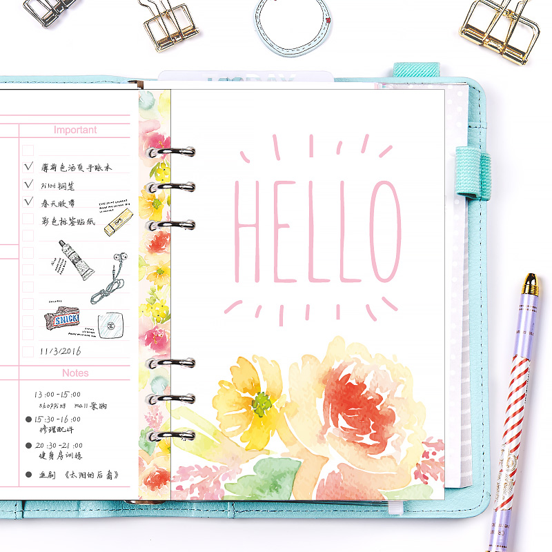 Lovedoki 2018 HELLO DREAM Series Inner Pages for Dokibook Notebook Spiral Planner 6 Hole Loose Leaf Dairy Weekly Monthly Plan never rose series 6 hole loose leaf planner dividers bookmark index page for dokibook spiral notebook 6 sheets school stationery