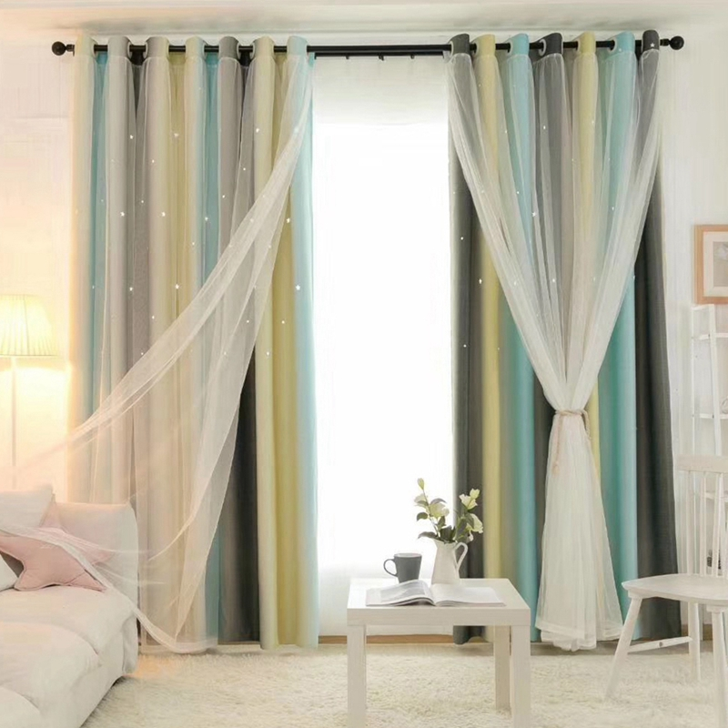 New Hollowed Out Star Shading Window Blackout Curtain Drapes Purdah For Living Room Princess Children Baby Kid's Room Curtain