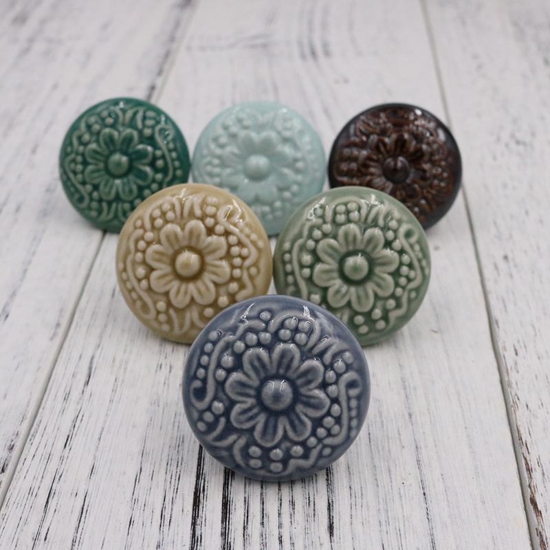 1pcs New Colorful Ceramic Cameo Bas-relief Cabinet Drawer Knob Kitchen Cupboard Door Handle Pull Dia 44mm vintage bird ceramic door knob children room cupboard cabinet drawer suitable kitchen furniture home pull handle with screws