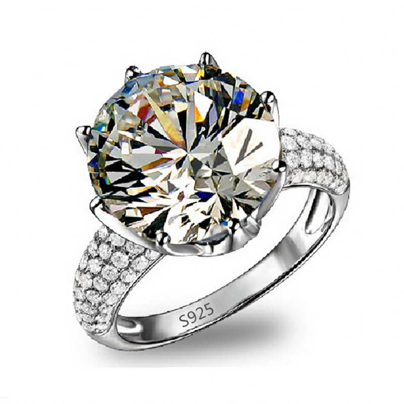 new jewelry solitaire women engagement band big 8ct 5a zircon birthstone 925 sterling silver wedding ring - Birthstone Wedding Rings