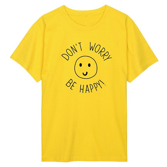 15486eb3 dont worry be happy t shirt womens mens ladies boys girl tee top hipster  tumblr grunge fun swag Unisex t shirt fashion smiley