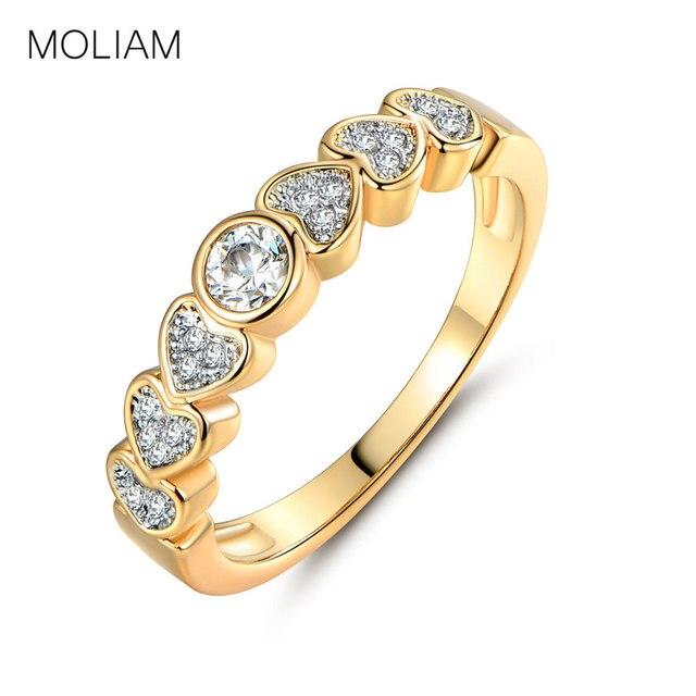 Moliam Luksusowe Marki Biżuterii Pierścień Dla Kobiet Złoty Kolor