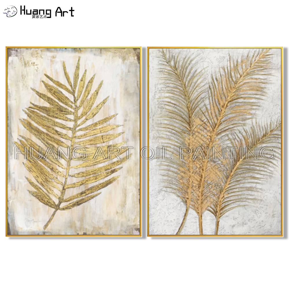 New Arrivals Hand-painted Golden Leaves Oil Painting on Canvas for Living Room Decor Modern Gold Leaf Still Life Oil Painting hearth