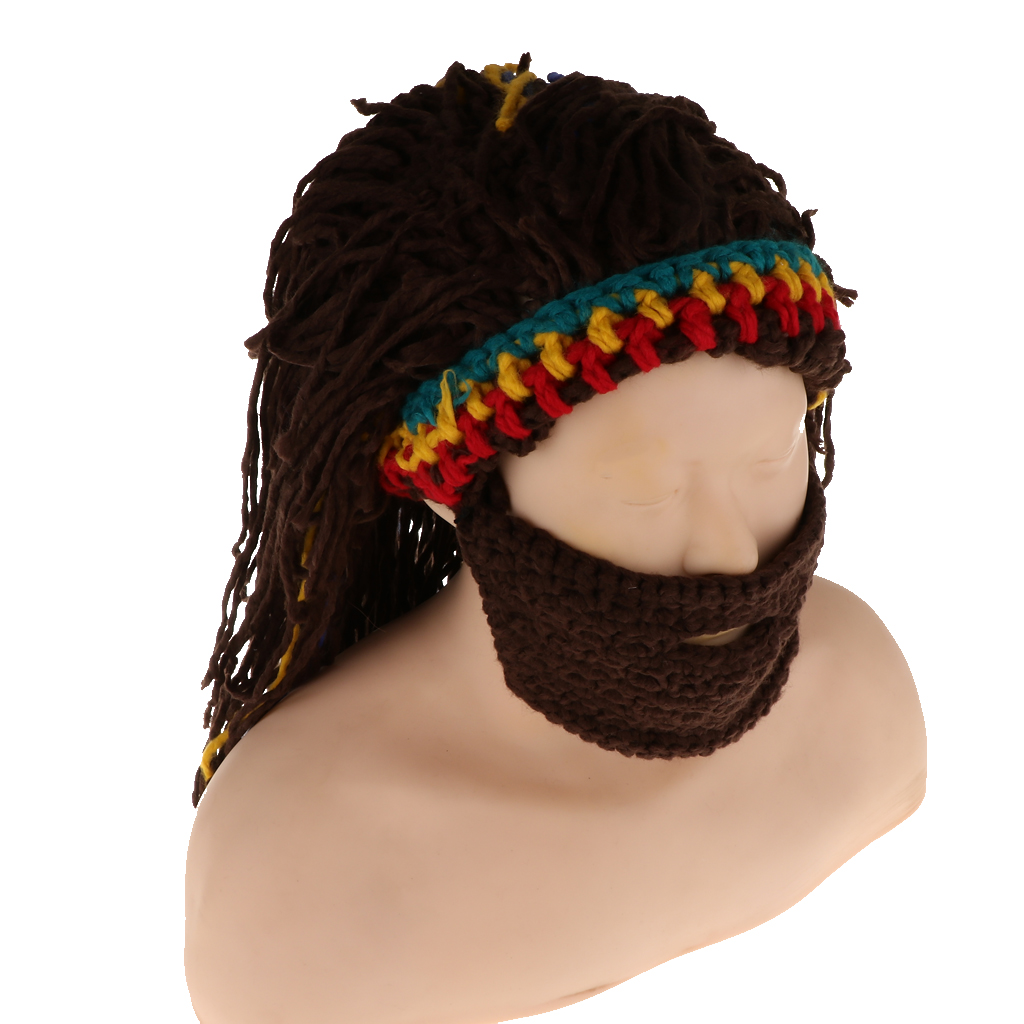 Giamaica Rasta Parrucca Barba Cappello Baffi Cospaly Del Crochet Del Knit Beanie Cap