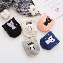 Cartoon Cute Cats Female Short Socken New Casual Ladies Socks Cotton Comfortable Breathable Women 5 Pairs/Lot