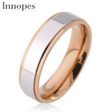 Innopes Trendy couple rings gold wedding band lovers stainless steel  engagement