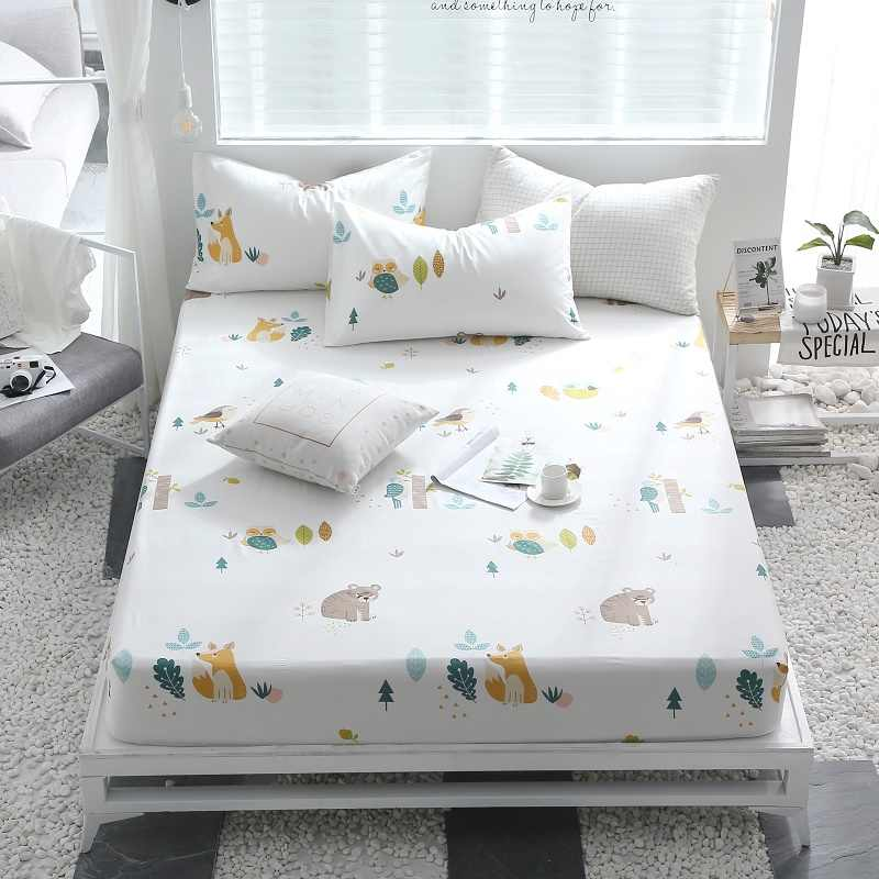 (New on the product)1pcs 100%Cotton Printed Solid Fitted Sheet Mattress Cover Four Corners With Elastic Band Bed Sheet