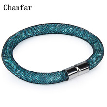 Chanfar New Fashion Women Crystal Bracelet Single Mesh Net Bracelet Jewelry