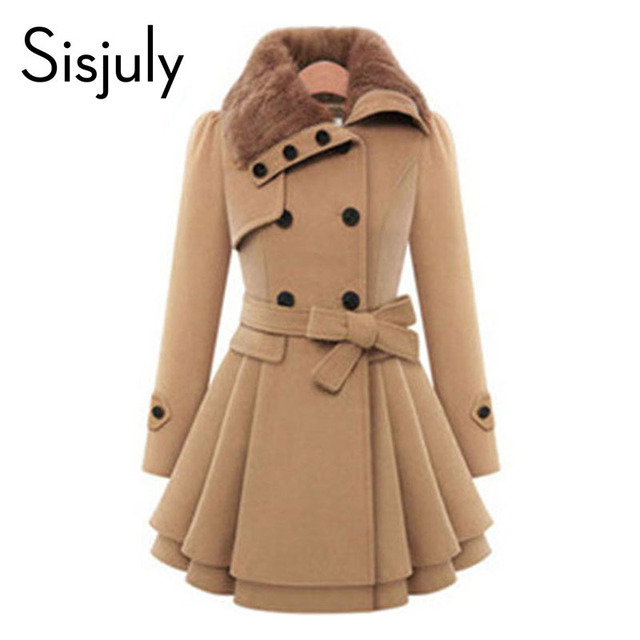 Sisjuly women winter autumn trench coat brand woolen coat double breasted long sleeve belt red slim womens khaki trench coat