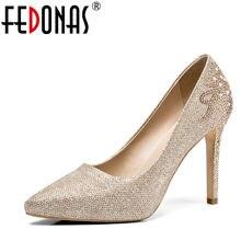 f273fbbfc4 FEDONAS Verão das Mulheres de Moda de Nova Sapatos de Mulher Europeu  Americano Diário Clube Prom Sapatos de Salto Alto Sexy Casa.