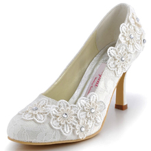 2016 Handmade Lace Flower Wedding Dress Shoes Lady Sweetness Beige Banquet Evening Party Prom Dress Shoes High Heel Bridal Shoes