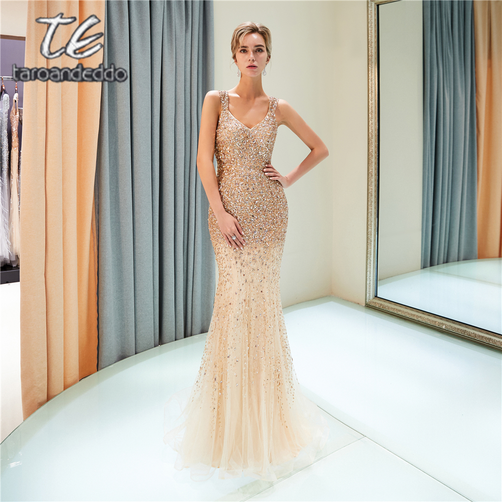 Straps Mermaid Tulle   Prom     Dresses   Illusion Zipper Back Sweep Train Long Formal Party   Dress   Vestido De Festa