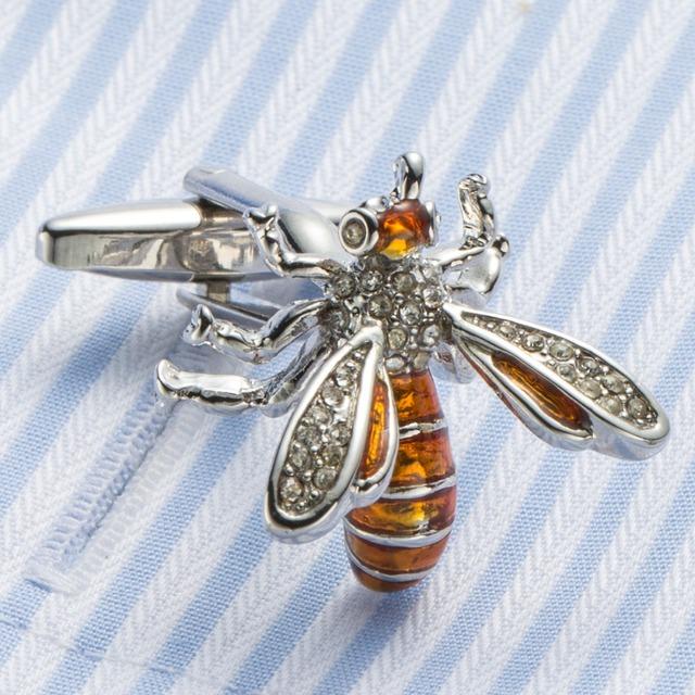 Vagula Enamel Bee Cuff Links French Shirt Cufflinks Creative Brass Gemelos 396