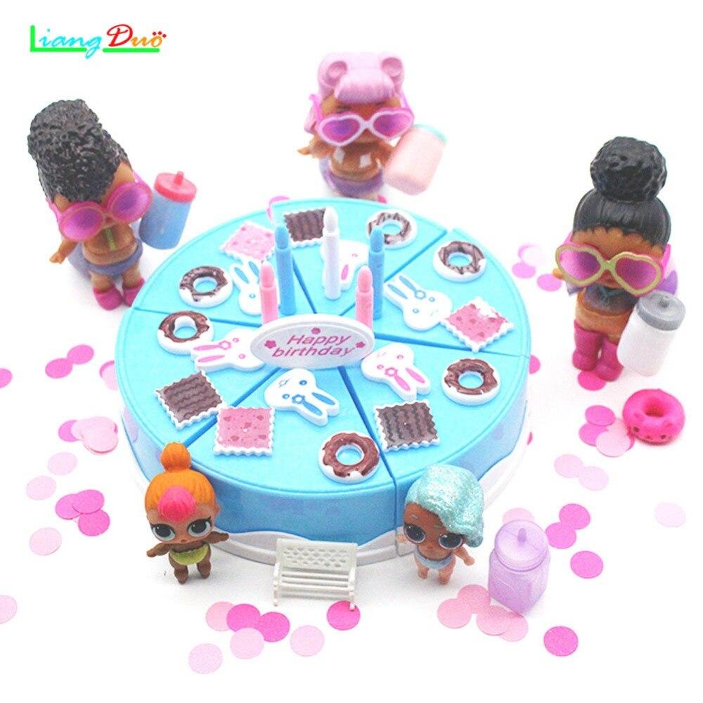 Nieuwe geburtstag Action Figur Baby puppen DIY Verjaardagstaart Keuken Voedsel Speelgoed meisjes Geschenk voor Kinderen