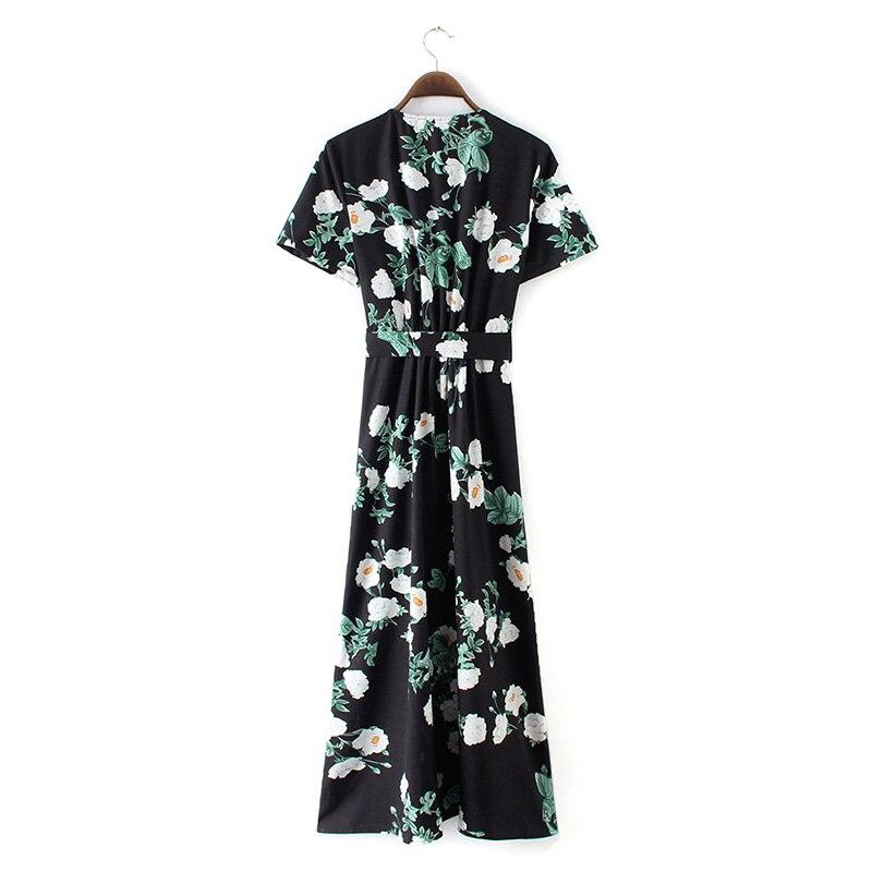 2019 été Maxi robe femmes Vintage Floral longue robe haute fente profonde col en V manches courtes Boho robe longue décontractée femmes robes