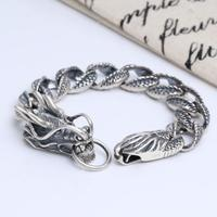 Vintage Domineering Carved Dragon Solid Silver Bracelet Hand Chain (FGL)