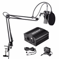 Neewer NW 700 Condenser Microphone & NW 35 Scissor Arm Stand XLR Cable and Mounting Clamp & NW 3 Pop Filter Phantom Adapter Kit