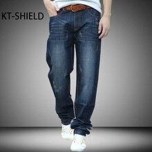 Большой размер 28-44 Прямые джинсы мужские Марка грузовые повседневная синий Свободные длинные брюки человек Моды хип-хоп Скейтборд вакеро Hombre