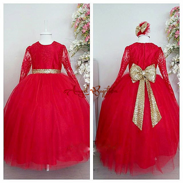 2018 Red Flower Girl Dresses for Kids Evening Ball Gowns first communion dresses for girls pageant dresses with Golden bow 2017 pink flower girl dresses for wedding puffy ball gowns first communion dresses for girls pageant dresses kids evening gowns