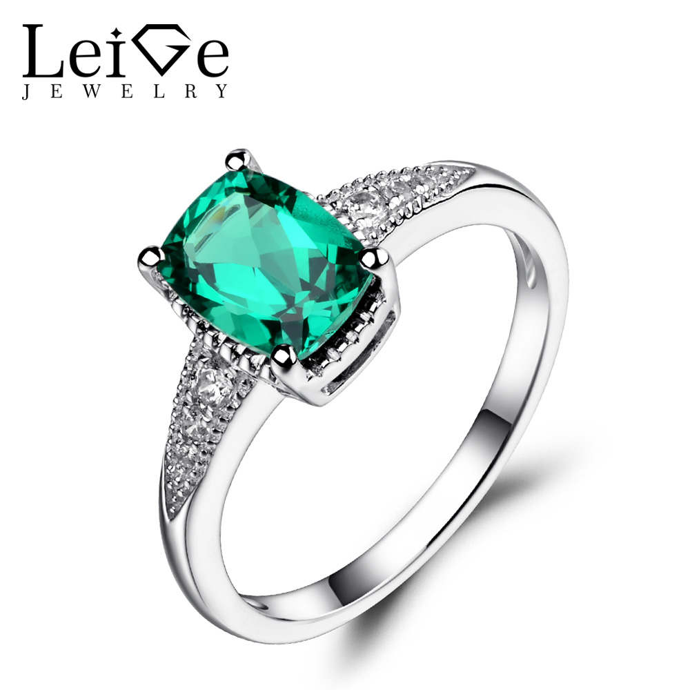 Leige Jewelry Emerald Engagement Ring Sterling Silver 925 Jewelry Green Gemstone Rings for Women Cushion Cut May Birthstone leige jewelry emerald engagement rings for women pear shaped ring sterling silver 925 fine jewelry green gemstone may birthstone