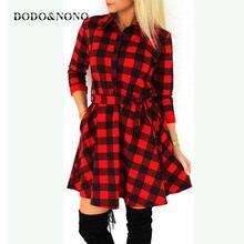 cec9c3168c61b DODO&NONO Autumn Plaid Shirt Women Casual Long Sleeve Shirt Women Cotton  Long Plaid Shirt Casual Female