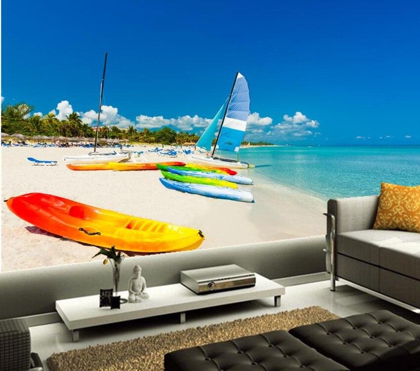 Custom 3d murals,Sea Boats Coast Sailing Sky Beach Nature wallpapers,living room sofa TV wall bedroom  papel de parede
