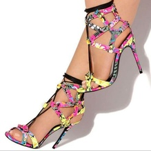 Floral Pattern High Heel Lace Up Sandals Open Toe Hollow Stiletto Sexy Shoes Woman Rome Narrow T Strap Tied Footwear