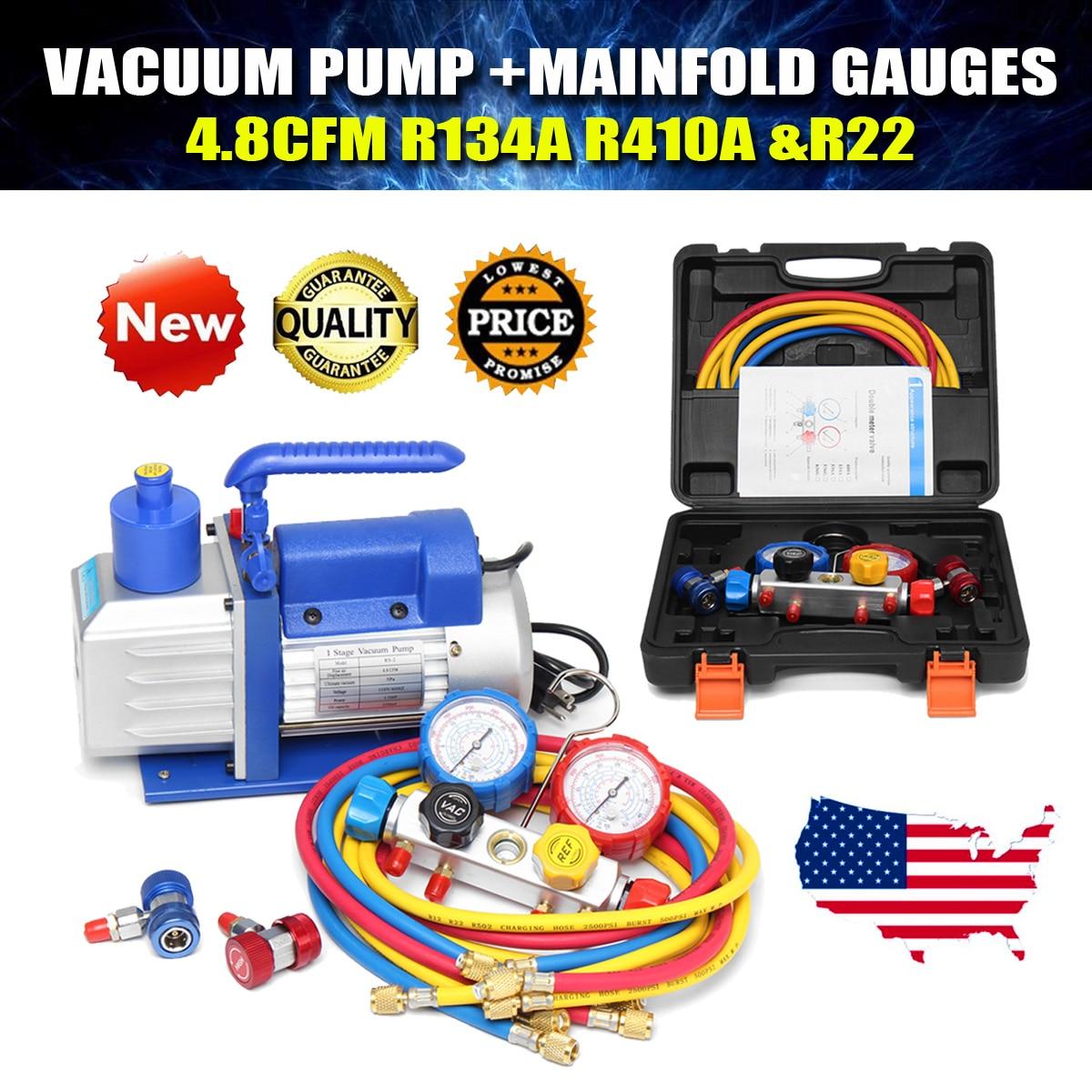 R134A R22 R410A 4.8CFM Vacuum Pump HVA/C Refrigerant W/4VALVE MANIFOLD GAUGE Pumps Parts And Accessories цена и фото