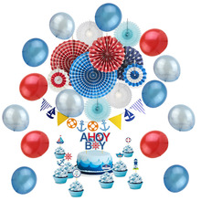 Birthday Party Decoration Set For Kids 22pcs With Birthday Banner Cake Topper Red Blue Air Balloon Nautical Theme Party Supplies casino theme birthday party decoration set happy birthday cake topper glitter gold holy shit you re old banner balloon las vegas